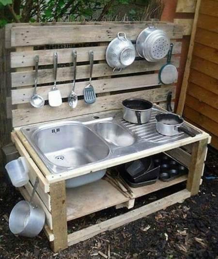 Paletten bahçeler için mutfak tezgahı