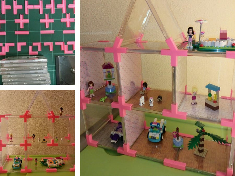 Plastik CD kutusu kullanarak oyuncak bebekler için bir ev; kızınız buna bayılacaktır! Hadi evcilik oynamaya :)