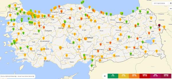 Hava kirliliği haritası