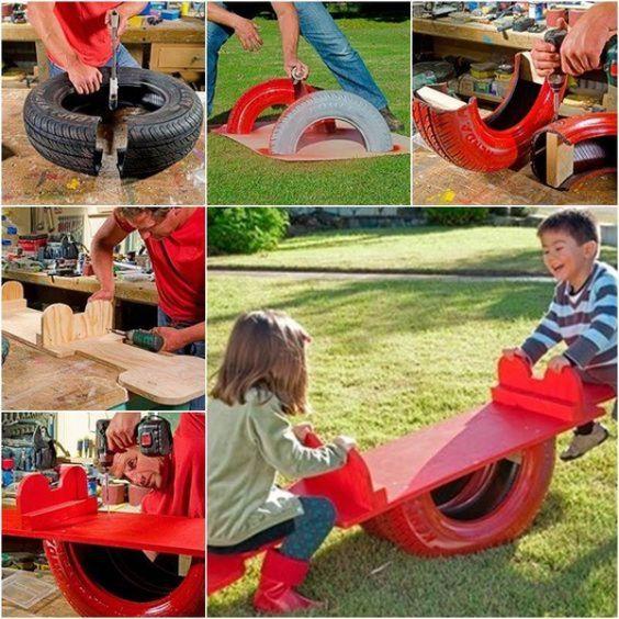 Eski araba lastiklerinden çocuklara park oyuncakları