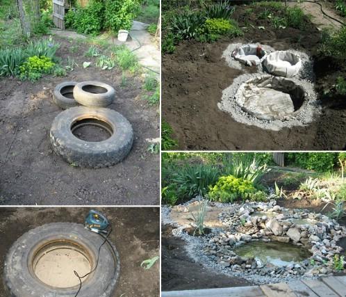 Araba lastiklerinden bahçenize ufak bir gölet yapabilirsiniz