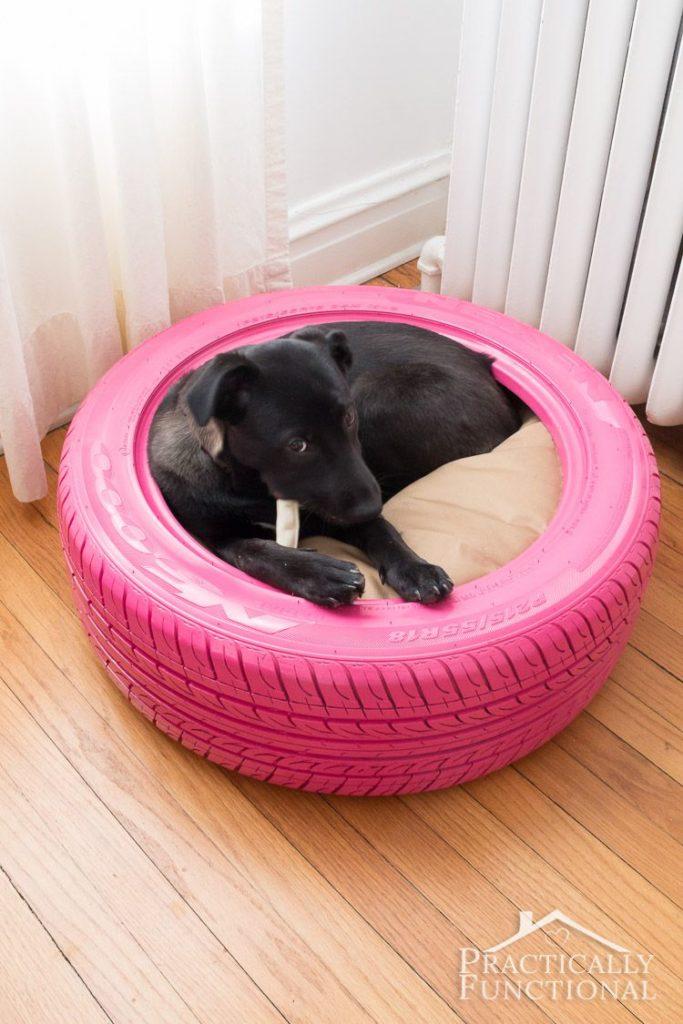 Eski araba lastiğinden köpeğiniz için sıcak bir yuva