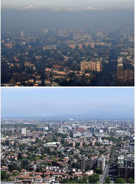 Milan, İtalya - Korona virüs ve hava kirliliği