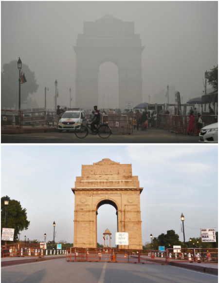 Yeni Delhi, Hindistan - Korona virüs ve hava kirliliği
